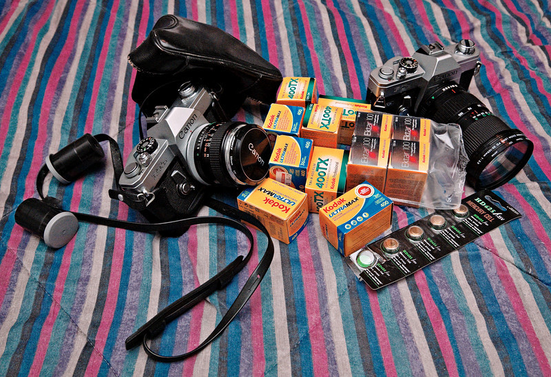 Canon FTb's with FD 50mm1.4 and 35-105mm lens, Kodak film and mercury batteries