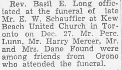 1961 January 5 the Canadian Statesman Oronto News article about the 1960 December 27 funeral of Edward W. Schauffler at Kew Beach United Church in Toronto.