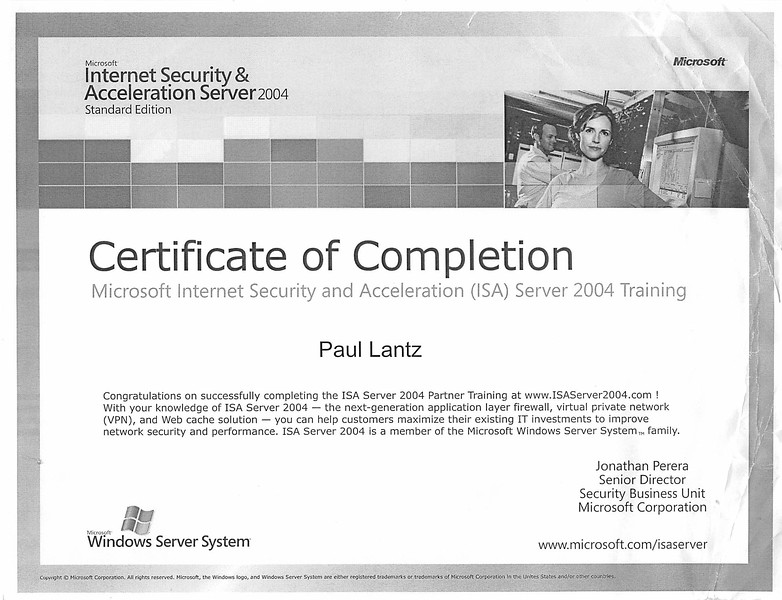 Microsoft Internet Security & Acceleration Server 2004 certifiate for Paul Lantz