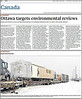Toronto Globe and Mail 2012 January 9 page A4 partial. Photograph by Paul Lantz of prefab homes on train in Moosonee. Homes destined for Attawapiskat.