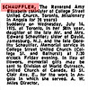 "1975 July 17 Globe and Mail obituary for Reverend Amy Elizabeth Schauffler. ""(Minister of College Street United Church, Toronto, Missionary in Angola for 28 years. Suddenly on Wednesday, July 16, 1975, at Toronto in her 58th year, daughter of the late Mr. and Mrs. Edward Schauffler; sister of David, Jamesburg, N.J. and the late Dorothy Schauffler..."