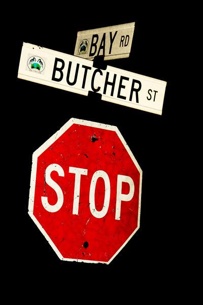 Moosonee streetsign/stopsign at corner of Bay Road and Butcher Street