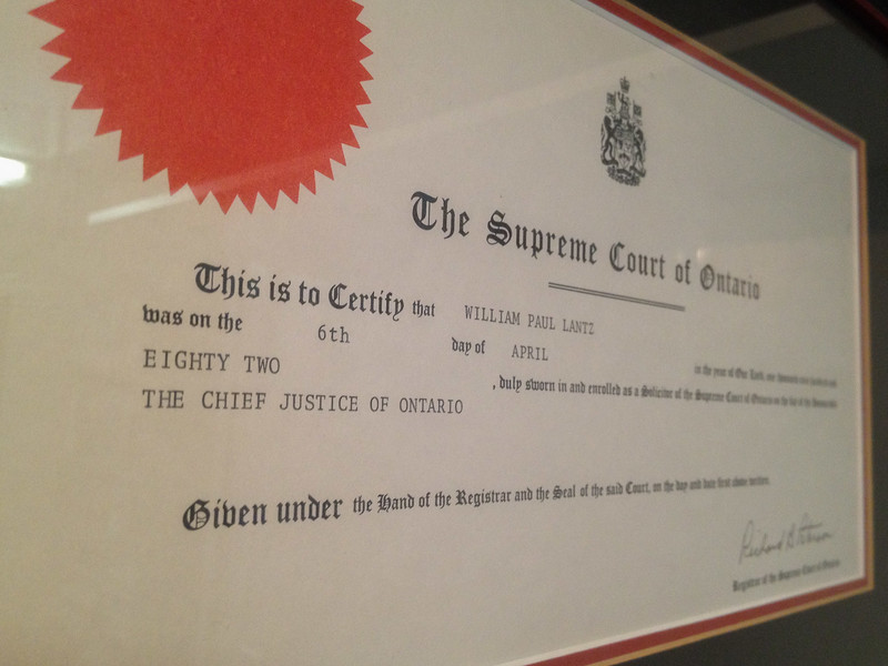 Supreme Court of Ontario certificate dated 1982 for swearing in of William Paul Lantz as a solicitor of the Supreme Court.