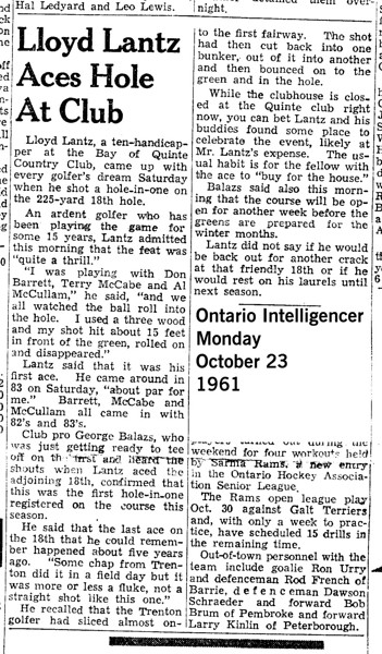 Lloyd Lantz, 1913-1991, went on to score a second hole in one.