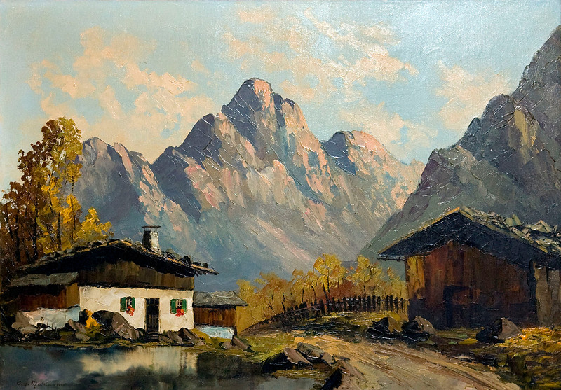 Painting of mountain scene by E. A. Moldovan