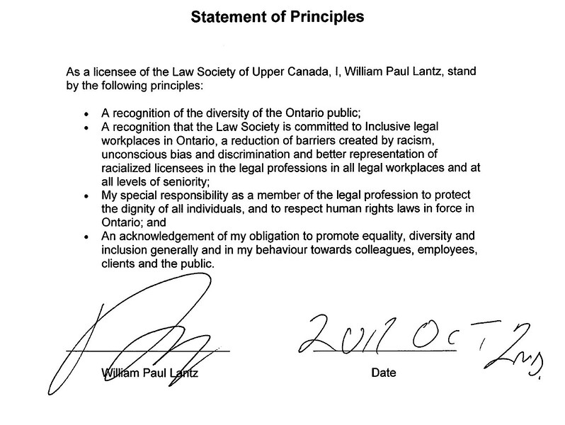 Statement of Principles required to be adopted by all licencees of the Law Society