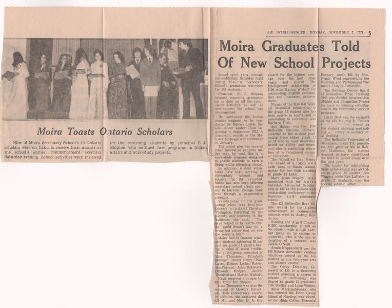 Intelligencer 1971 November 1 Moira Graduates Told of New School Projects, Moira Toasts Ontario Scholars.