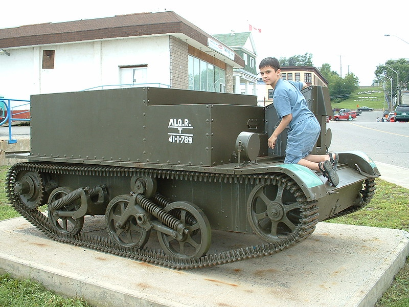David Hunter in Cobalt with a tracked military vehicle 2003 July 31.