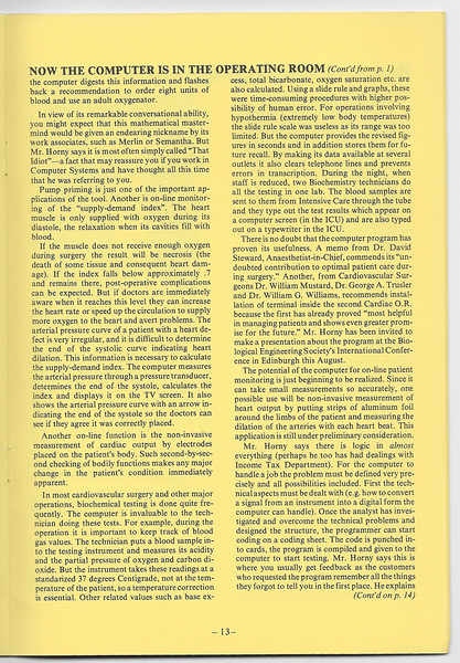 """Excerpts from 1975 April edition of What's New from the Hospital for Sick Children, """"What's that idiot doing in the O.R.?"""" article about Clinical Computer Systems."""