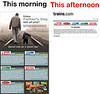 Two emails received today from the publishers of Trains magazine, the first with a shot of a man and a child walking down tracks, the second one apologizing for using that picture. Best viewed at original size to make text readable.