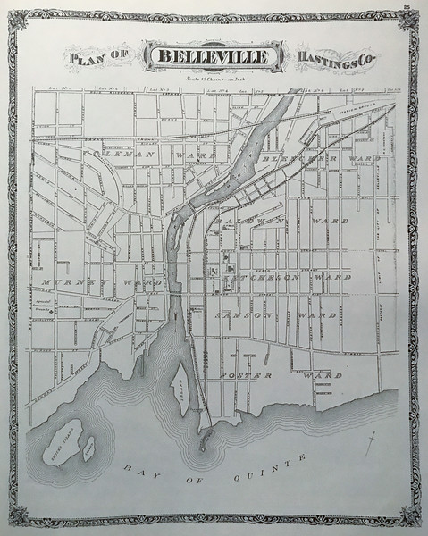 Plan of Belleville 1878 from Belden Atlas of Hastings and Prince Edward Counties. Mika reprint. Note Street Railway on Front Street.