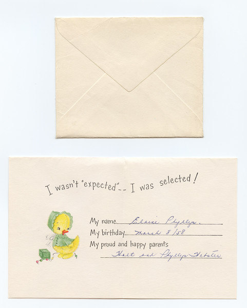 Adoption announcement card mailed 1958 March 26. Holt and Phyllys Webster re Elaine Phyllys.
