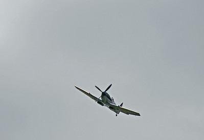 A clipped wing Spitfire overhead at Horsted Keynes