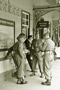 The Home Guard on the platform at Horsted Keynes