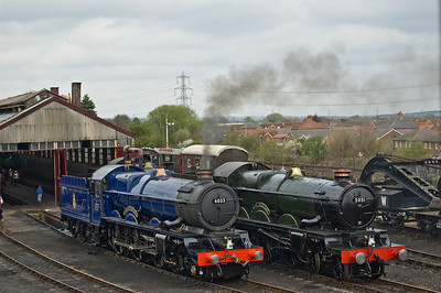 6023 'King Edward II' and 5051 'Earl Bathurst' outside the main shed at Didcot