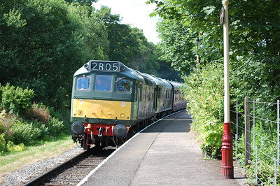 D7629 and D5054 arriving at Summerseat