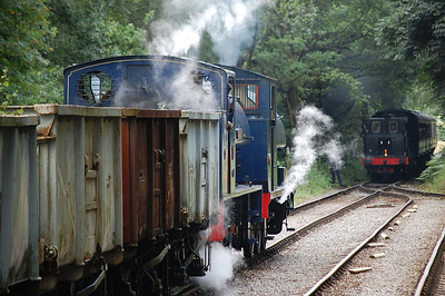 Wimblebury' and 'Backworth 47' wait at Dilhorne Park as 'Bellerophon' approaches
