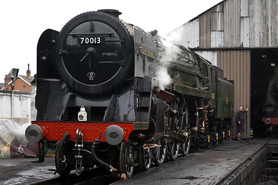 70013 'Oliver Cromwell' outside Loughborough shed