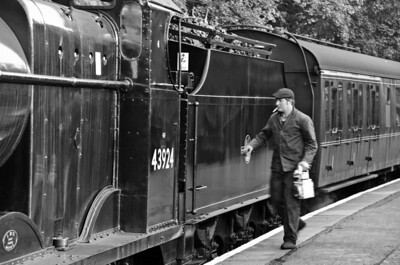 The fireman boards the loco. at Haworth