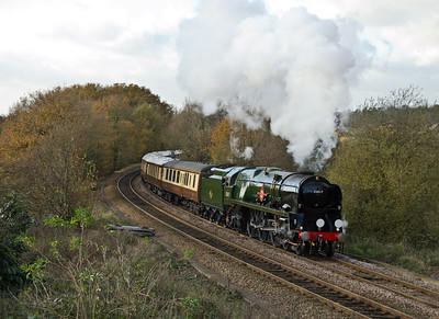35028 'Clan Line' approaches the water stop at Shalford.