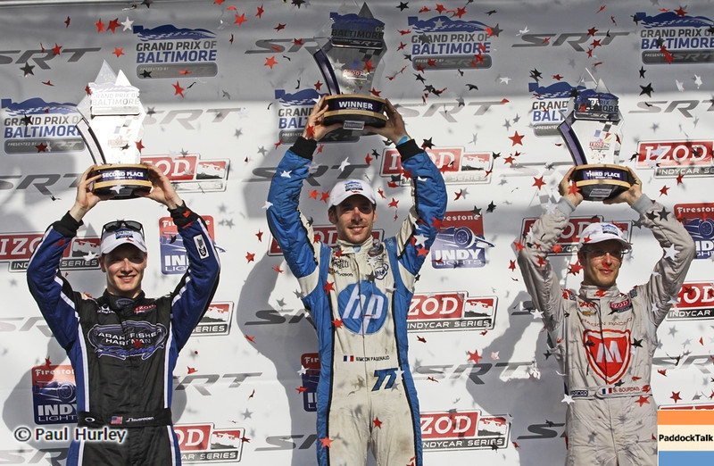 September 1: Winners podium during the Grand Prix of Baltimore IndyCar race.