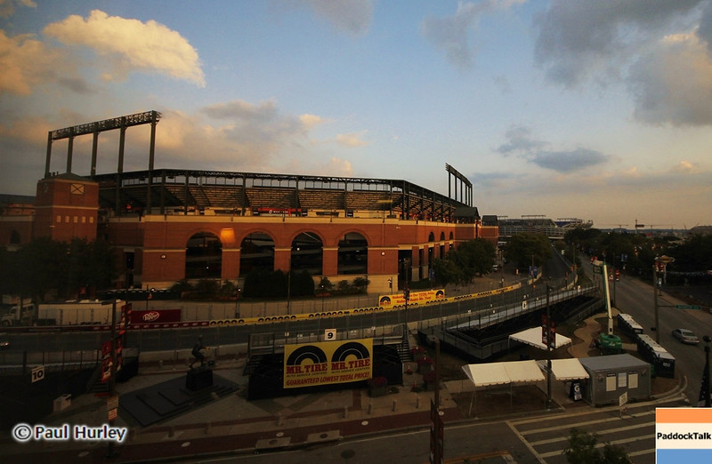 August 30: Camden Yards during IndyCar practice for the Grand Prix of Baltimore.