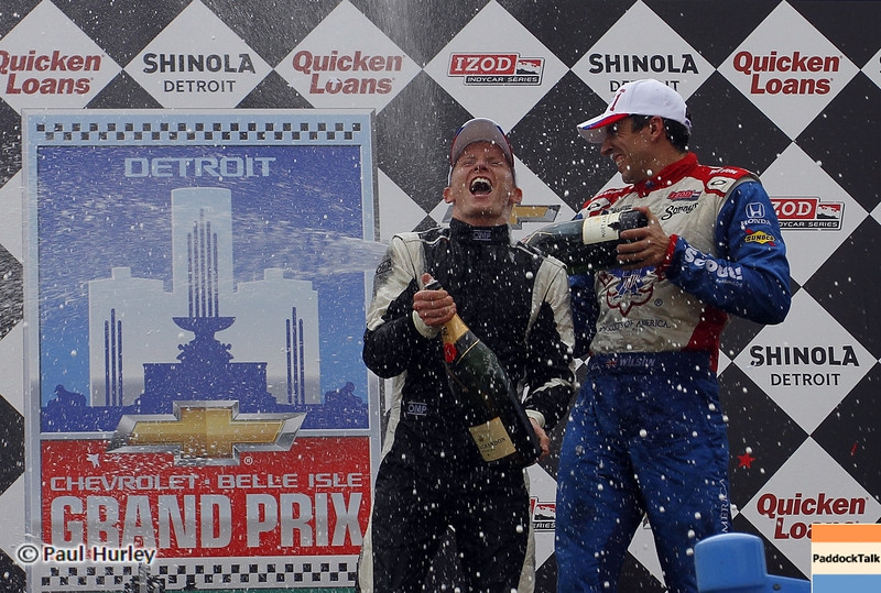 June 1: Mike Conway and Justin Wilson celebrate after the Chevrolet Detroit Belle Isle Grand Prix.