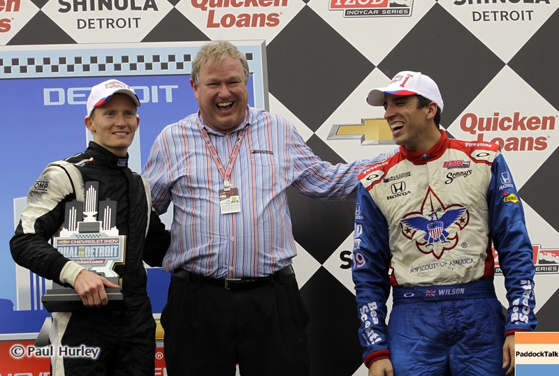June 1: Mike Conway, Dale Coyne, and Justin Wilson during the Chevrolet Detroit Belle Isle Grand Prix.