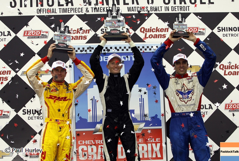June 1: Ryan Hunter-Reay, Mike Conway and Justin Wilson during the Chevrolet Detroit Belle Isle Grand Prix.