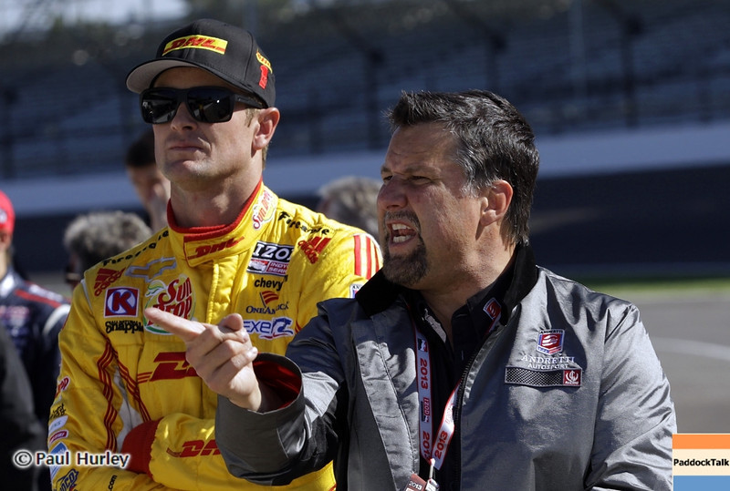 May13: Ryan Hunter-Reay and Michael Andretti during practice for the 97th Indianapolis 500 at the Indianapolis Motor Speedway.