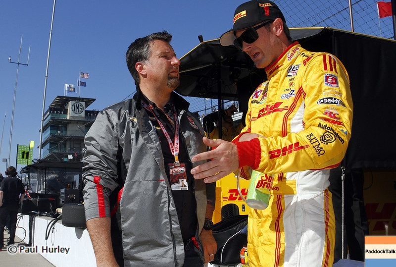 May13: Michael Andretti and Ryan Hunter-Reay during practice for the 97th Indianapolis 500 at the Indianapolis Motor Speedway.