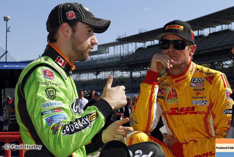 May13: James Hinchcliffe and Ryan Hunter-Reay during practice for the 97th Indianapolis 500 at the Indianapolis Motor Speedway.