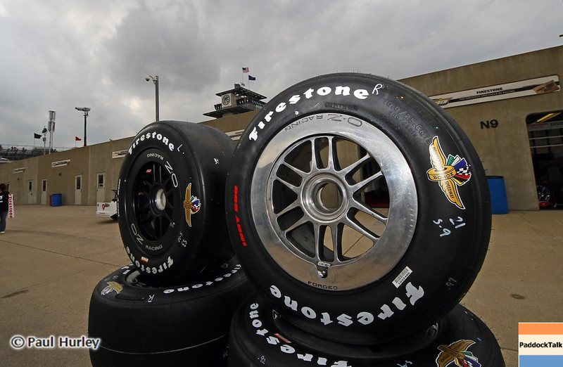 May 11: Firestone tires during practice for the 97th Indianapolis 500 at the Indianapolis Motor Speedway.