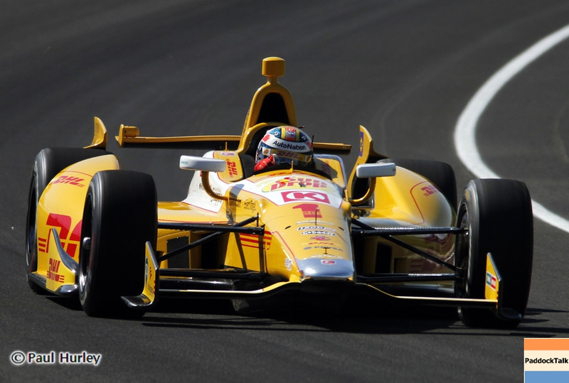 May 14: Ryan Hunter-Reay during practice for the 97 Indianapolis 500 at the Indianapolis Motor Speedway.