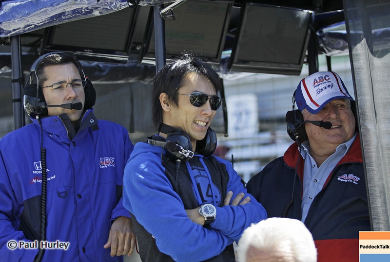 May13: Larry Foyt, Takuma Sato and A.J. Foyt during practice for the 97th Indianapolis 500 at the Indianapolis Motor Speedway.