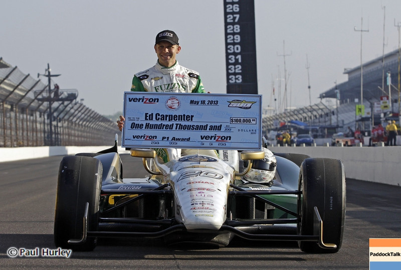 May 19: Ed Carpenter during qualifications for the 97th Indianapolis 500 at the Indianapolis Motor Speedway.