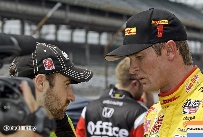 May 18: James Hinchcliffe and Ryan Hunter-Reay during qualifications for the 97th Indianapolis 500 at the Indianapolis Motor Speedway.