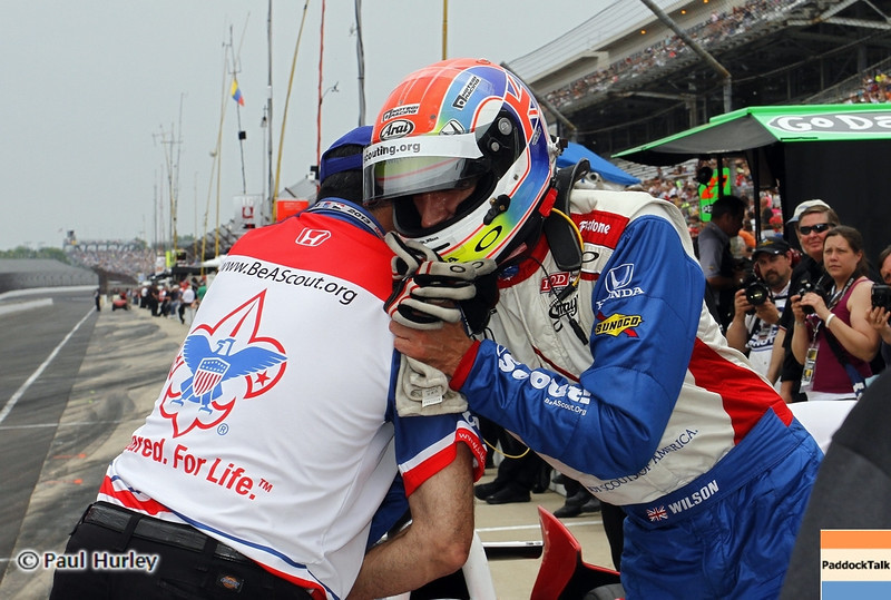May 18: Justin Wilson during qualifications for the 97th Indianapolis 500 at the Indianapolis Motor Speedway.