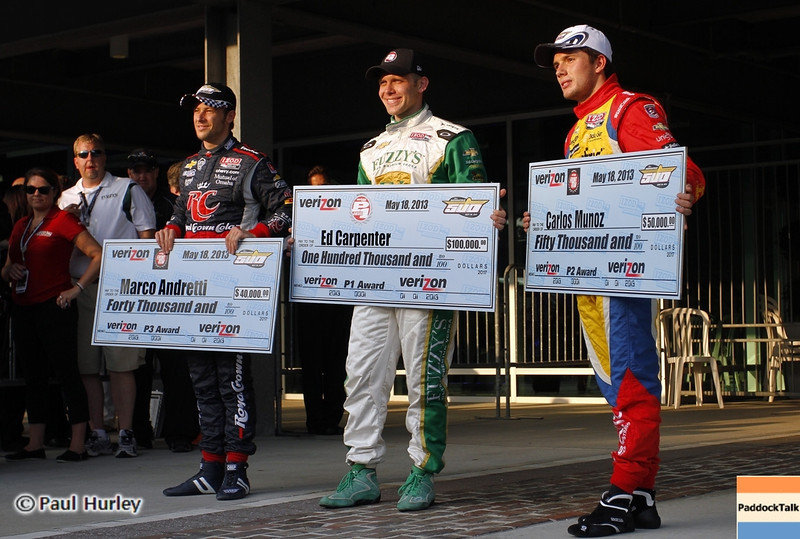 May 18: The front row during qualifications for the 97th Indianapolis 500 at the Indianapolis Motor Speedway.