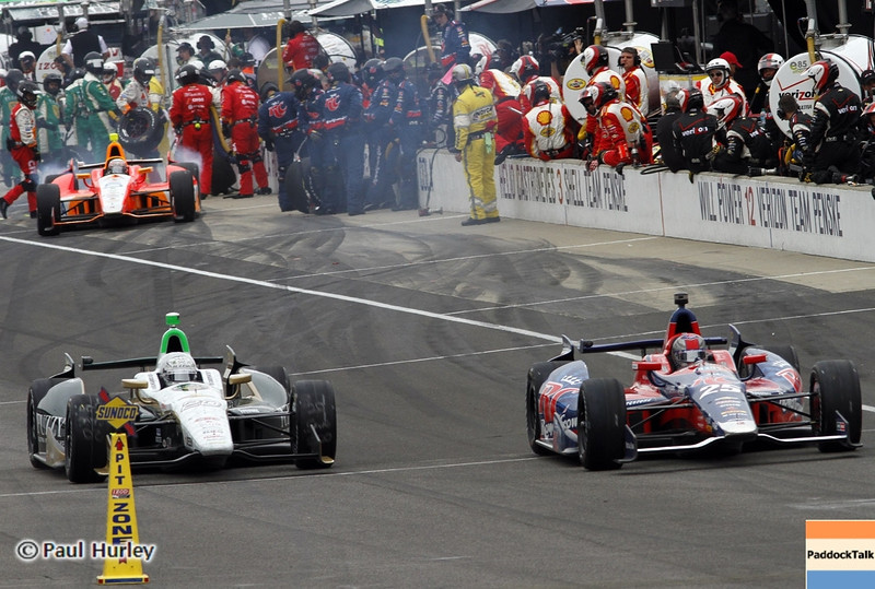 May 26: Pit action during the 97th running of the Indianapolis 500 mile race.