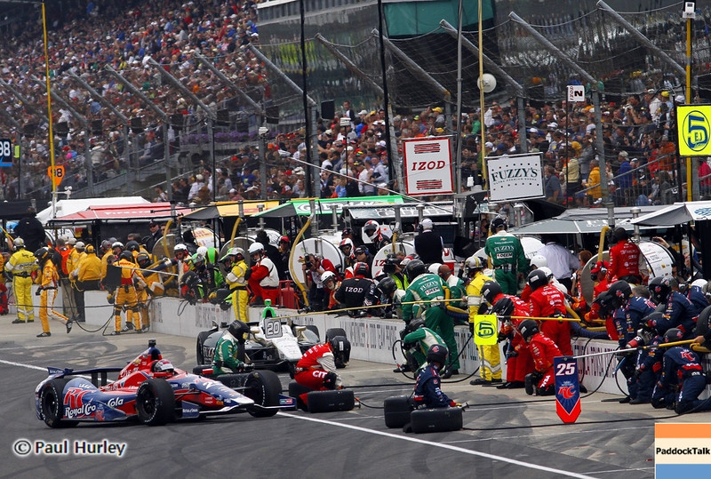 May 26: Pit stops during the 97th running of the Indianapolis 500 mile race.