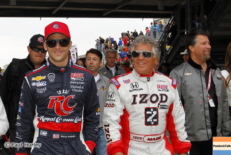 May 26: Marco, Mario and Michael Andretti during the 97th running of the Indianapolis 500 mile race.