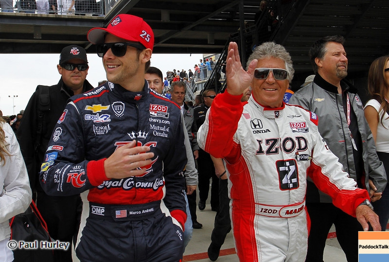 May 26: Marco and Mario Andretti during the 97th running of the Indianapolis 500 mile race.