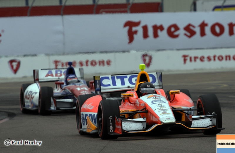 March 24: E.J. Viso and Takuma Sato during the Honda Grand Prix of St. Petersburg IndyCar race.