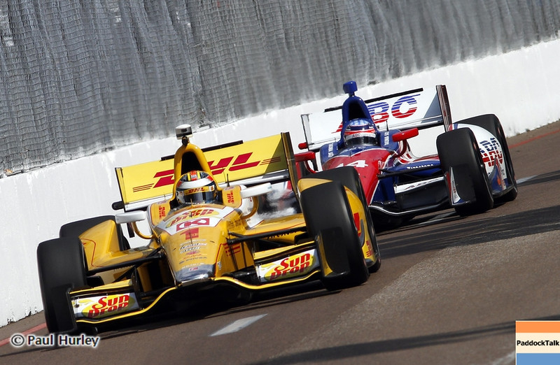 March 22: Ryan Hunter-Reay and Takuma Sato at IndyCar practice at the Honda Grand Prix of St. Petersburg.