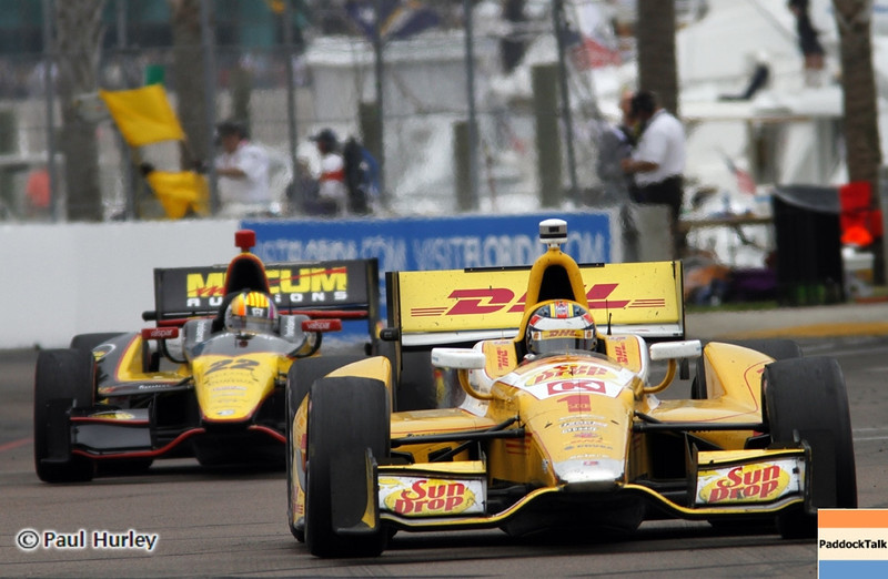 March 24: Ryan Hunter-Reay and Oriol Servia during the Honda Grand Prix of St. Petersburg IndyCar race.