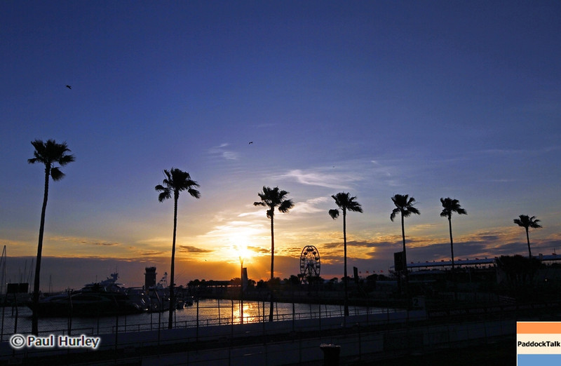 March 22:Sunrise at IndyCar practice at the Honda Grand Prix of St. Petersburg.