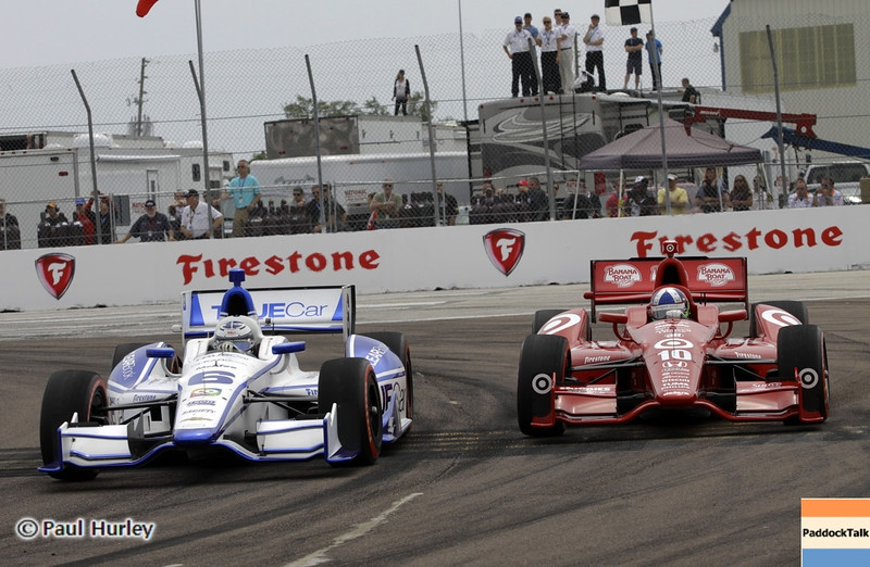 March 24: Sabastian Saavedra and Dario Franchitti during the Honda Grand Prix of St. Petersburg IndyCar race.