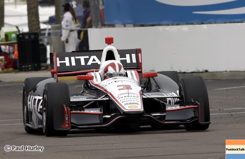 March 23: Helio Castroneves during IndyCar qualifying at the Honda Grand Prix of St. Petersburg.