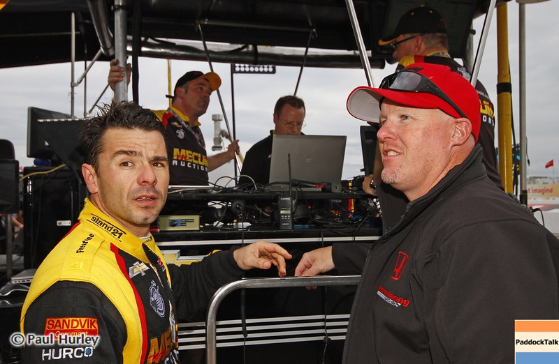 March 22: Oriol Servia and Paul Tracy at IndyCar practice at the Honda Grand Prix of St. Petersburg.